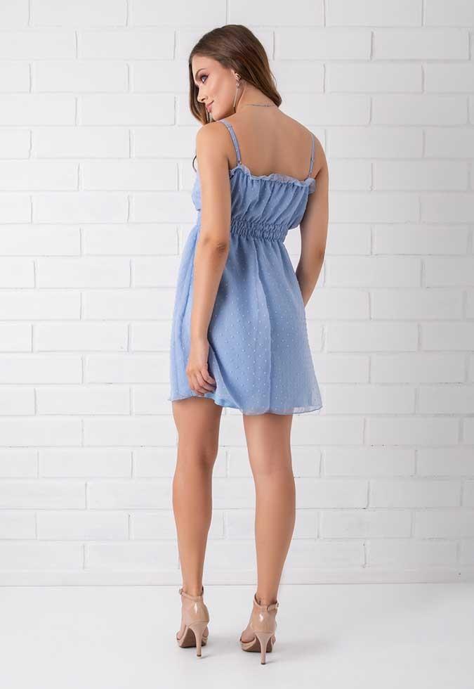 Vestido Chiffon Efeito Poá Pkd Azul Claro
