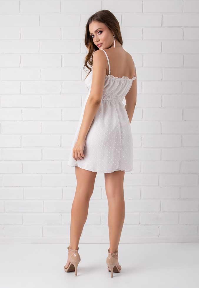 Vestido Chiffon Efeito Poá Pkd Branco