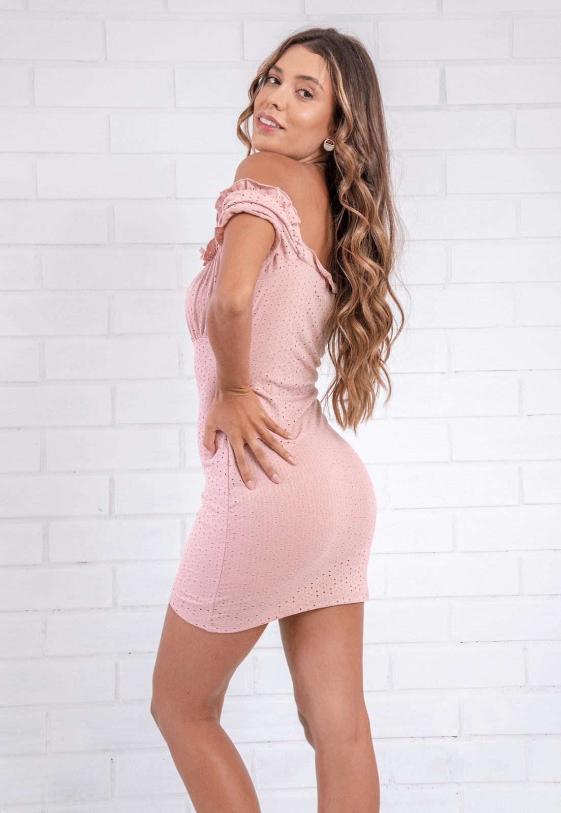 Vestido Ciganinha Malha Laise Pkd Rosê