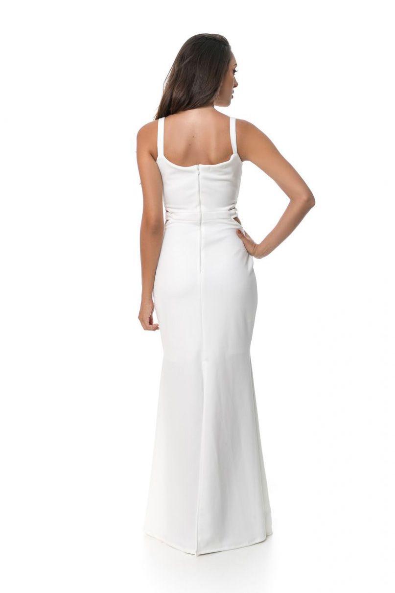Vestido Longo Pkd Vazado Na Costela Off White