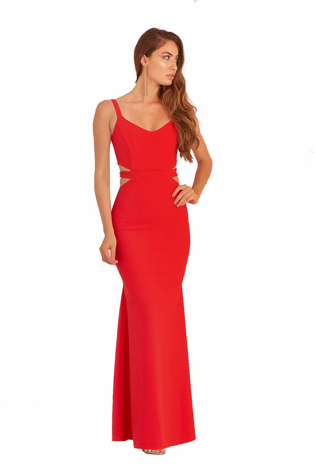 Vestido Longo Pkd Vazado Na Costela Vermelho