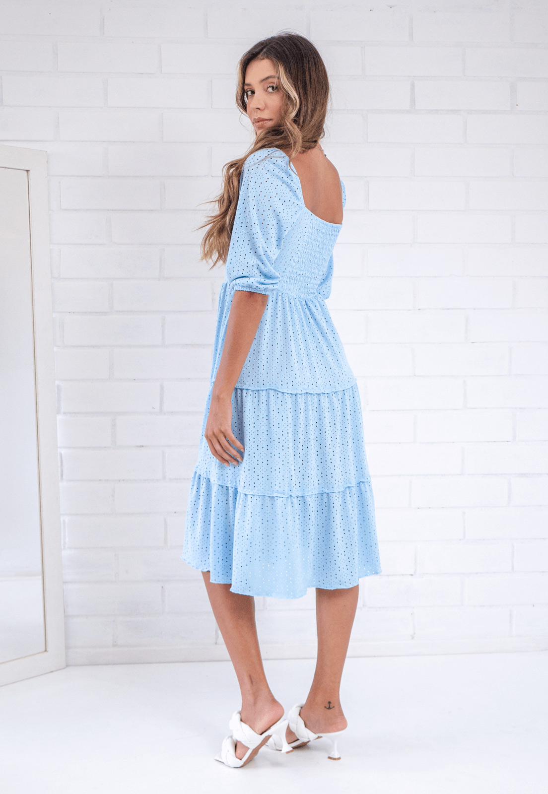 Vestido Midi Daphne Azul Céu Pkd