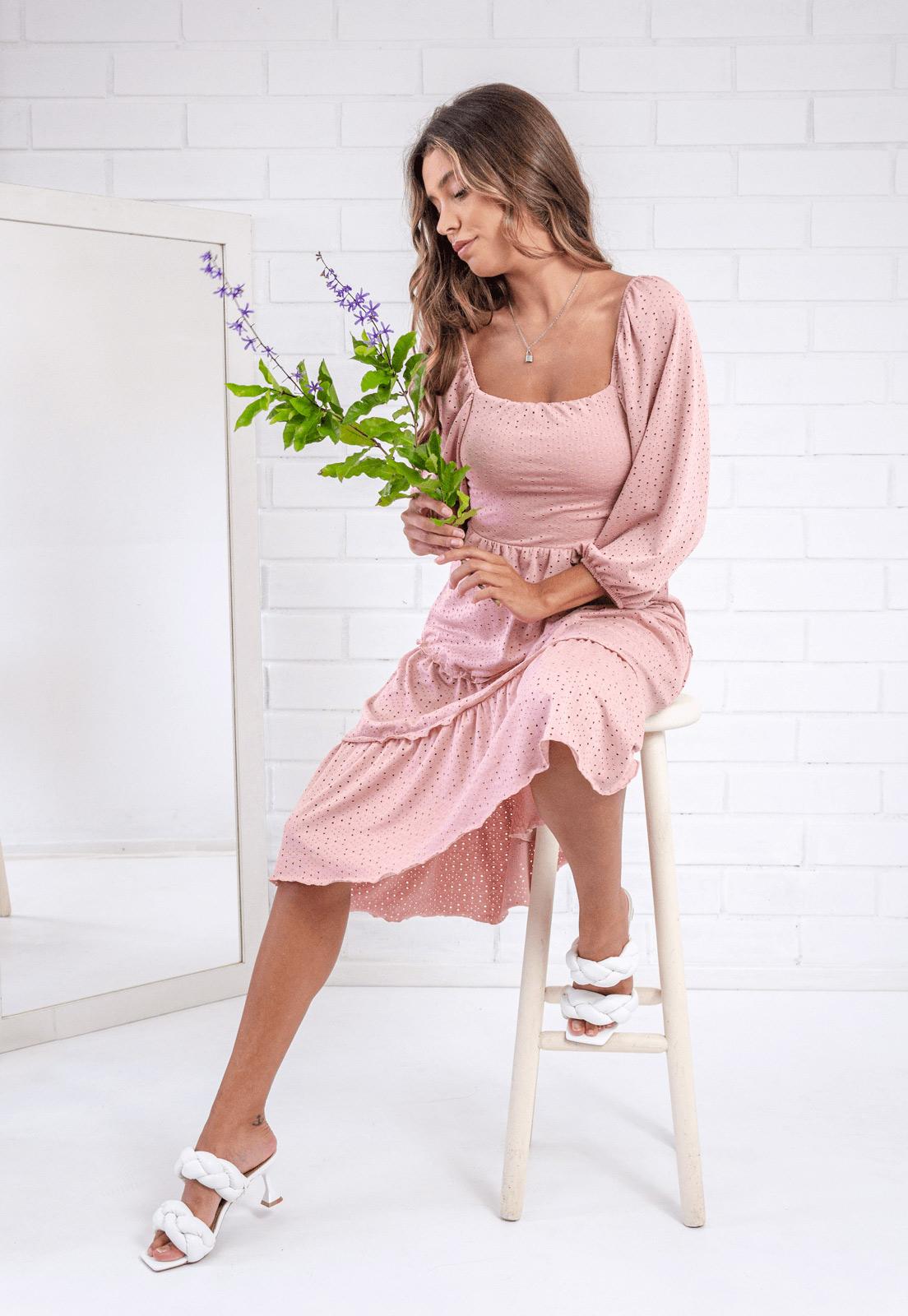Vestido Midi Daphne Rosê Pkd