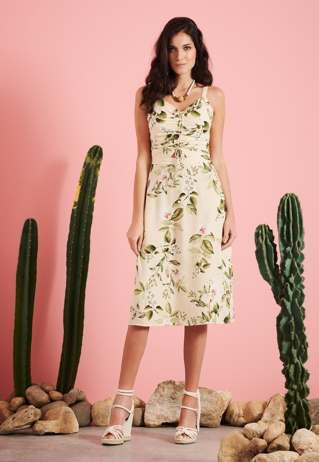 Vestido Midi Floral Pkd Creme