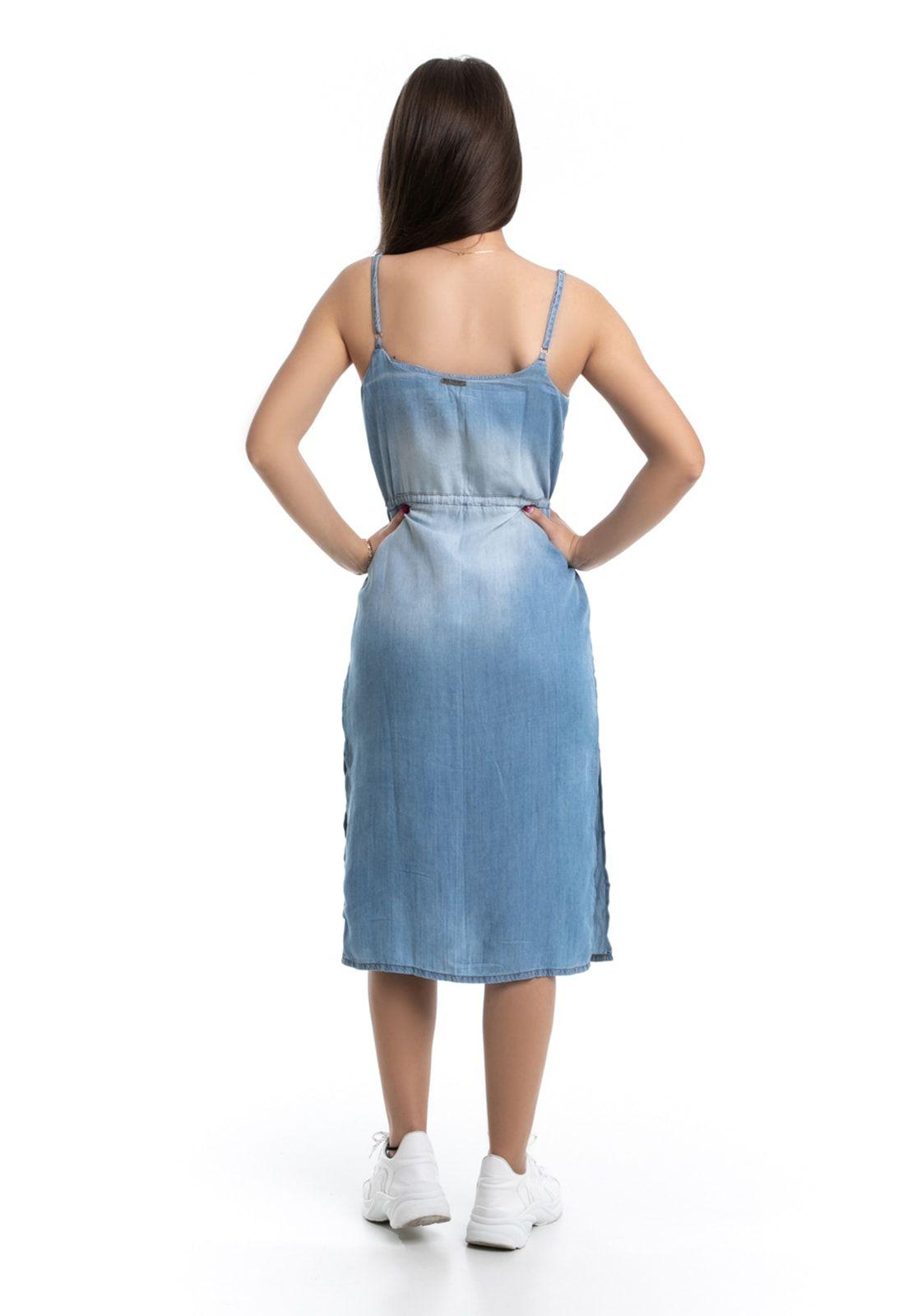 Vestido Midi Pkd Com Abotoamento Jeans