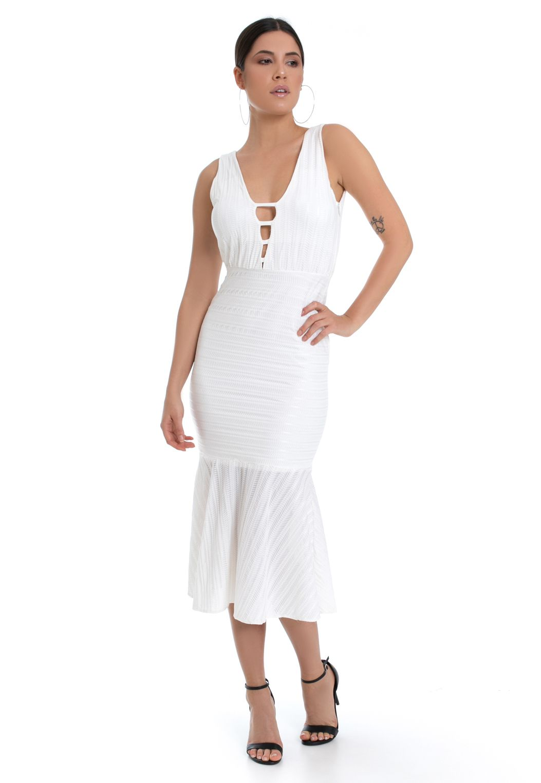 Vestido Midi Pkd Com Babado Off White