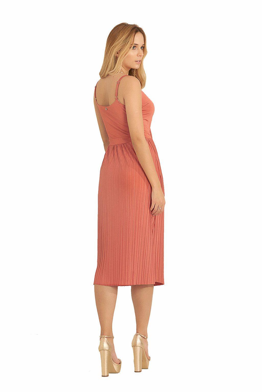 Vestido Midi Pkd Com Saia Plissada Rosa