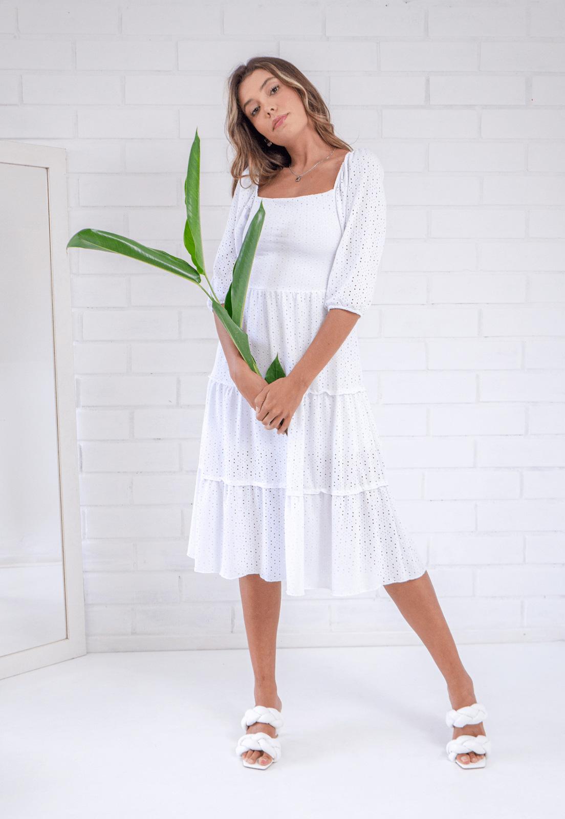 Vestido Midi Pkd Daphne Branco