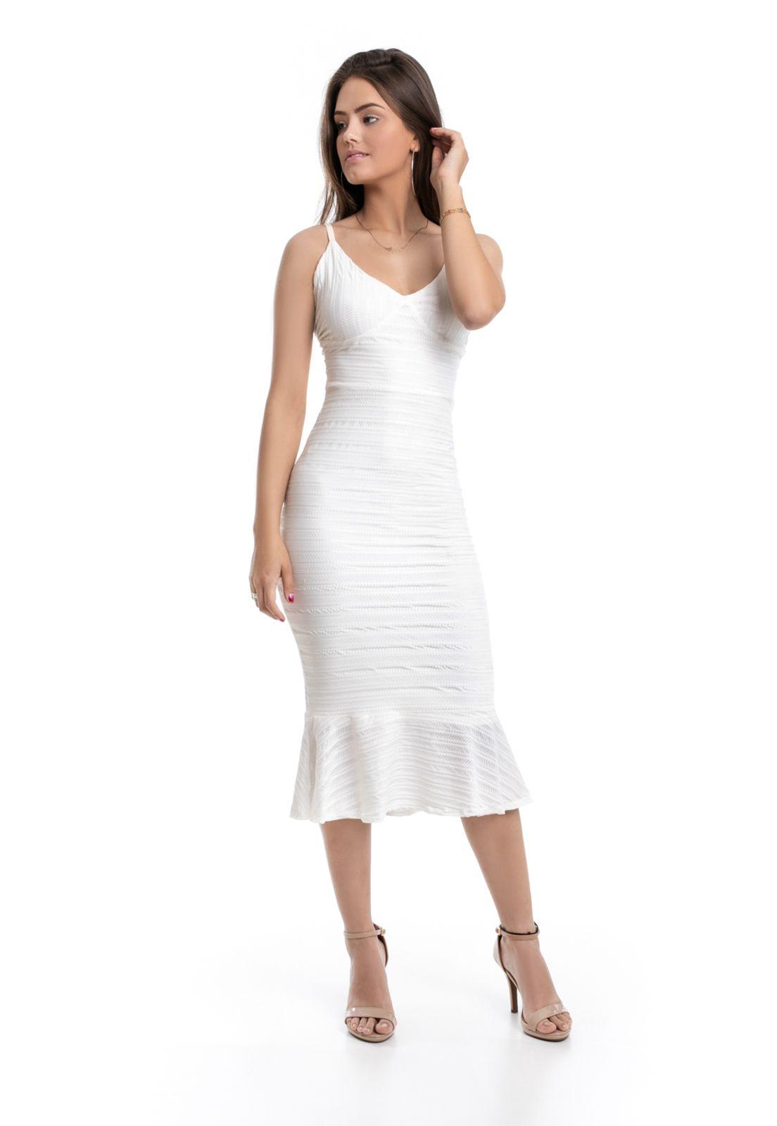 Vestido Midi PKD de Alças Branco