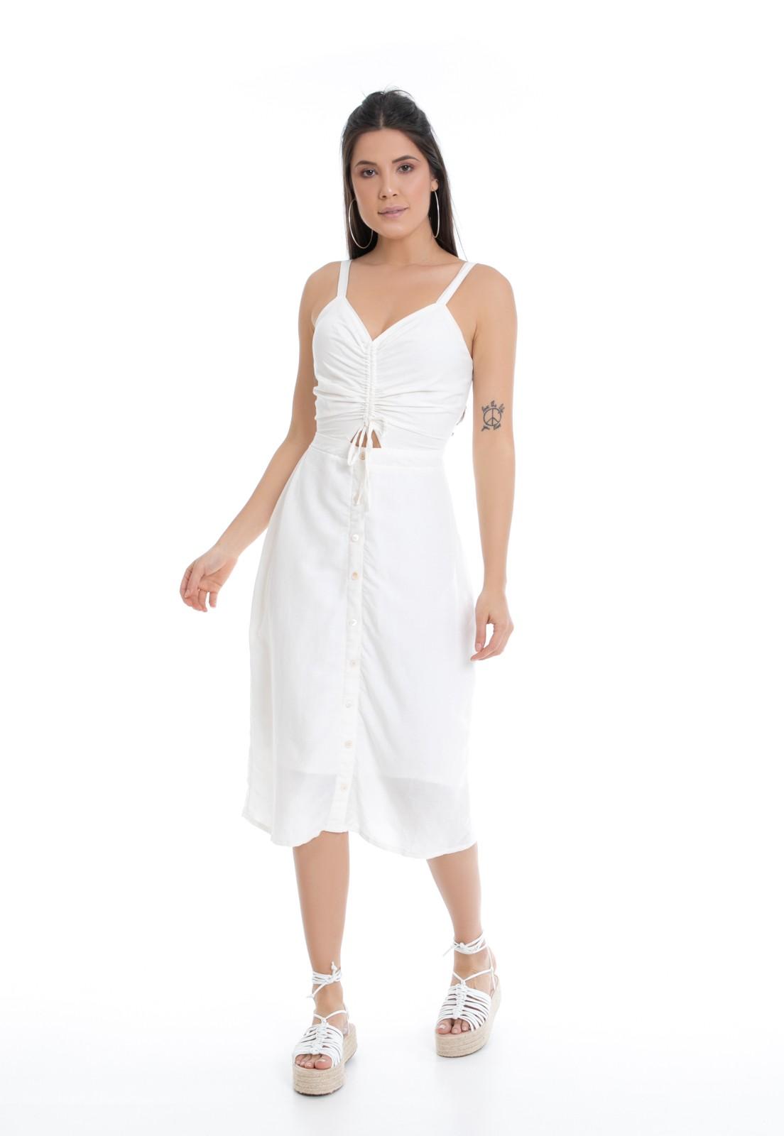 Vestido Midi Pkd Off White