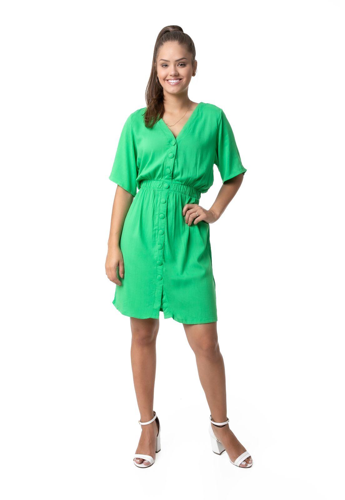 Vestido PKD com Botões Encapados Verde