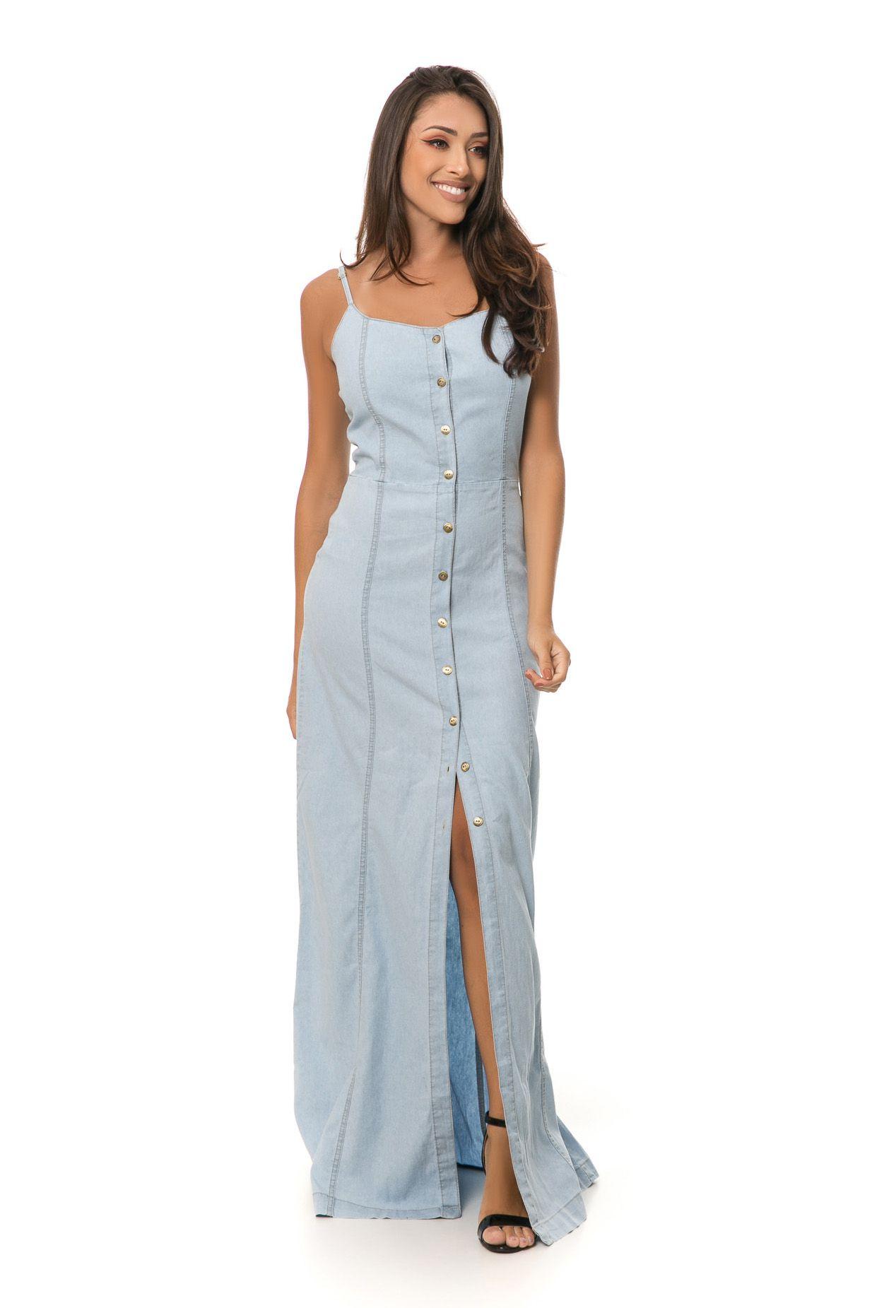 Vestido Pkd Com Botões Frontais Jeans