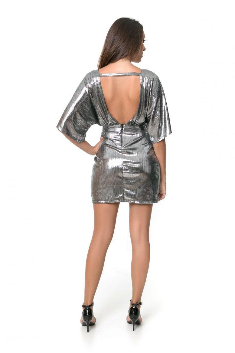Vestido Pkd Com Decote Profundo Nas Costas Prata