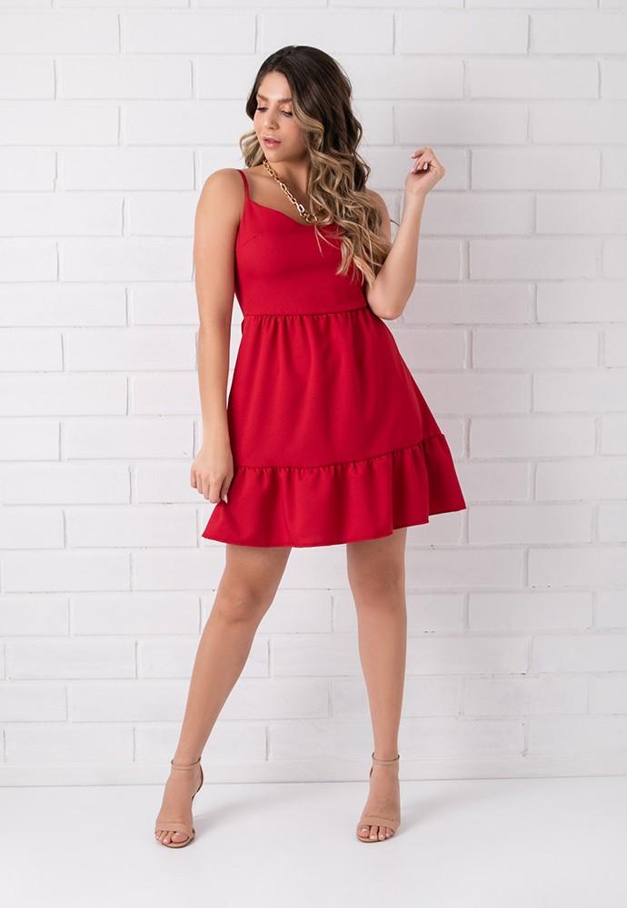 Vestido Pkd Crepe Babado na Barra Vermelho