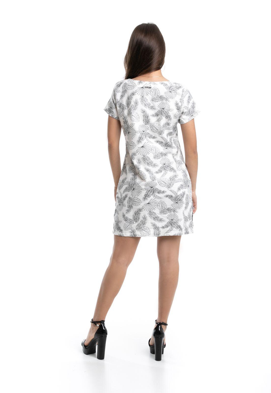 Vestido Pkd Estampa Folhagens Branco