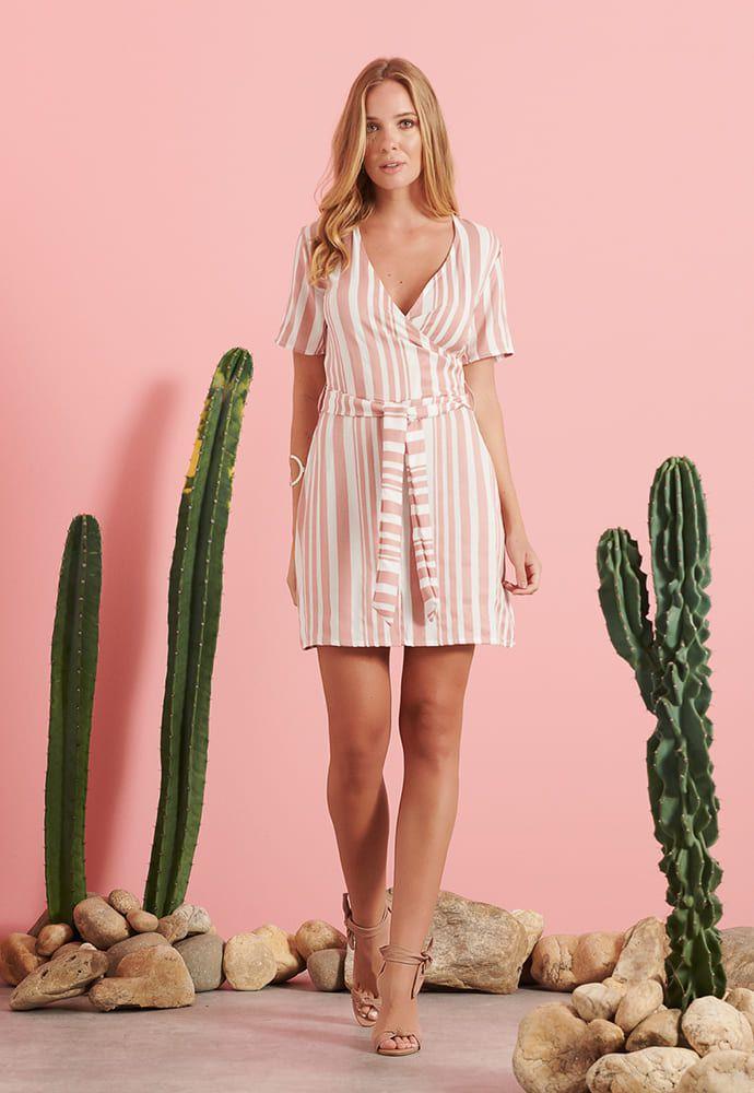 Vestido Pkd Listras Rosé e Branco