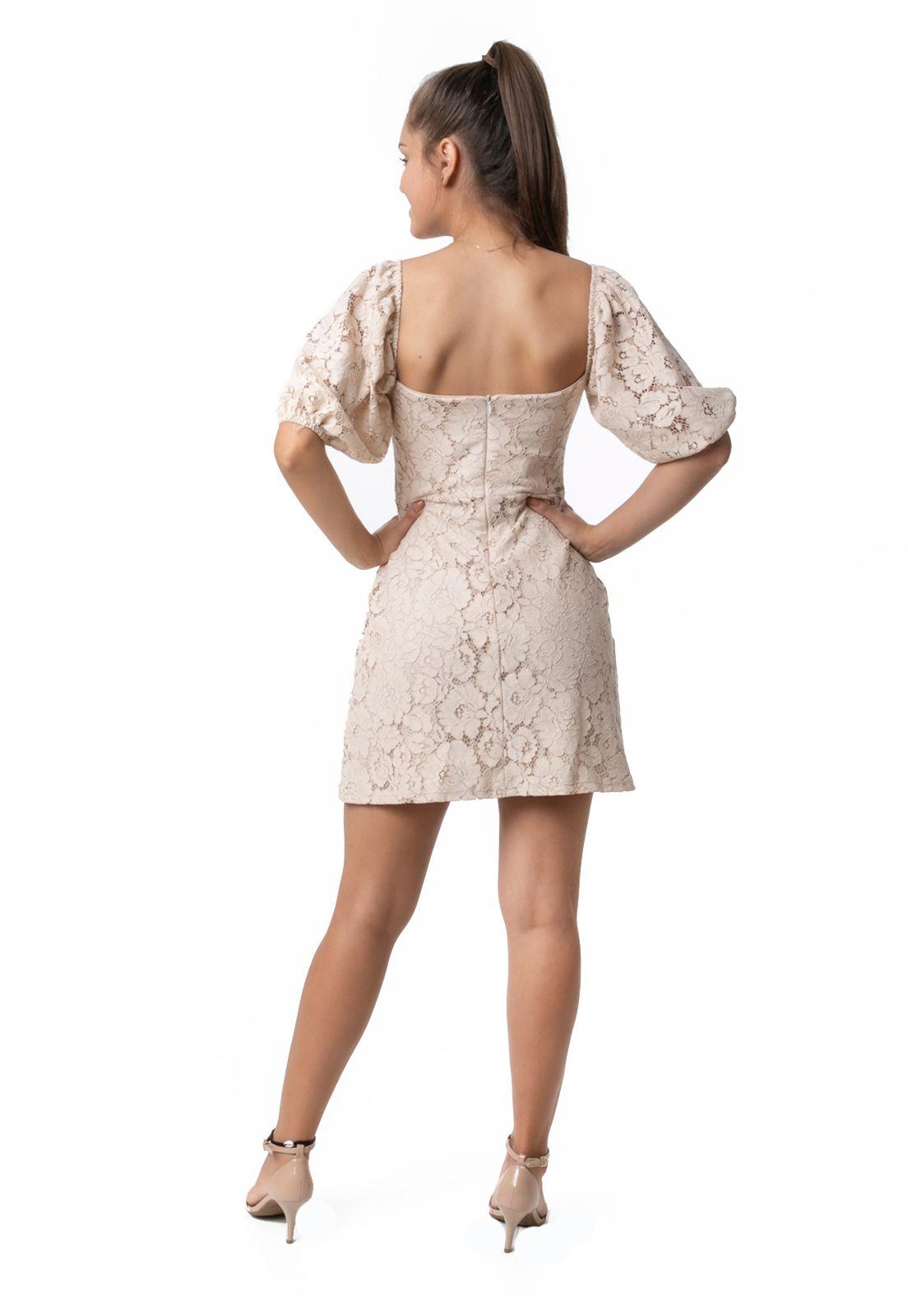 Vestido Pkd Mangas Bufantes de Renda Creme