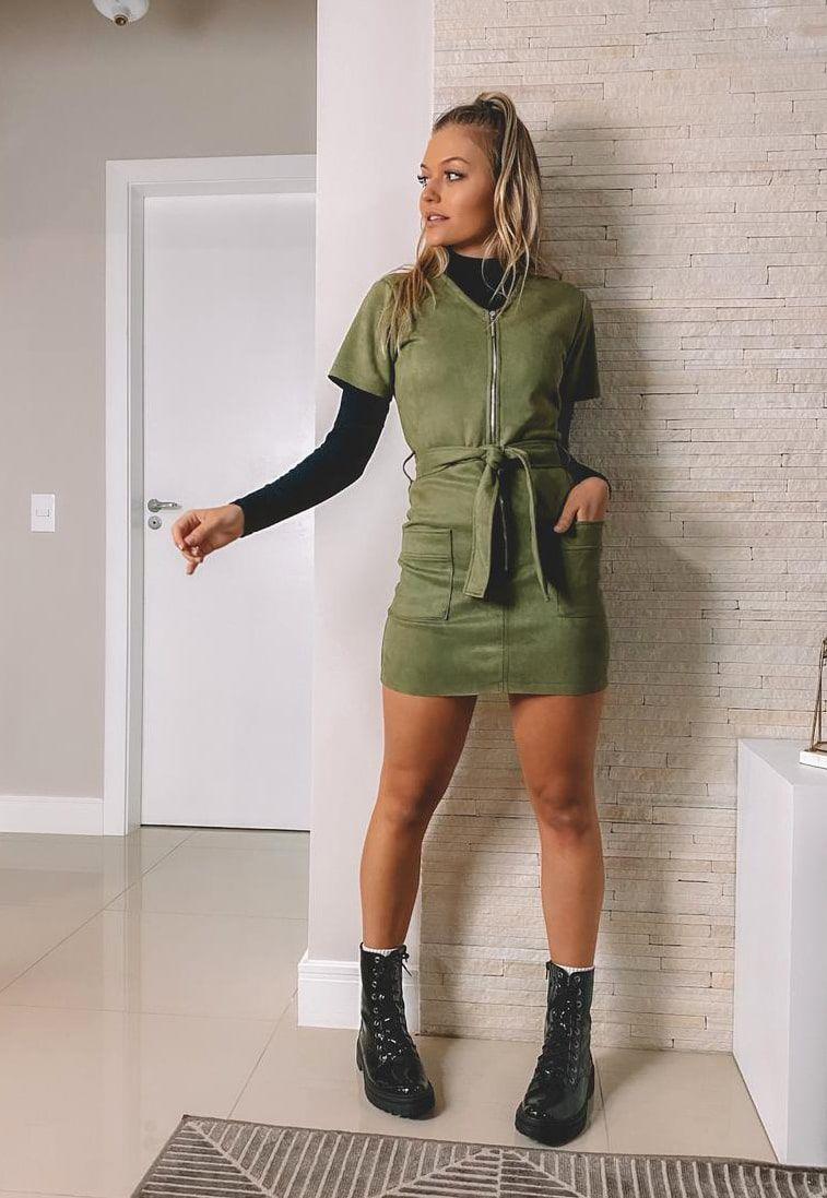 Vestido Pkd Suede Com Zíper Verde Militar