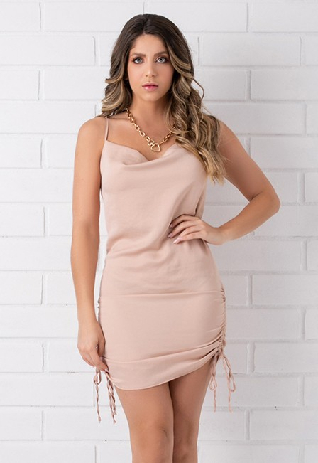 Vestido Slip Pkd Acetinado Franzido Rosê