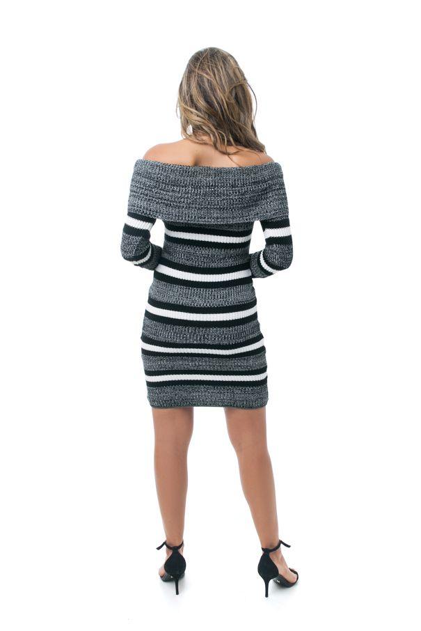 Vestido Tricot Pkd Com Listras Mescla