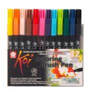 Caneta Brush Pen KOI Estojo c/ 12 Cores