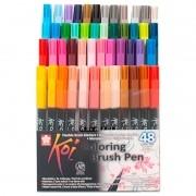 Caneta Brush Pen KOI Estojo c/ 48 Cores
