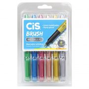 Caneta CIS Brush Metallic Estojo c/ 6 Cores
