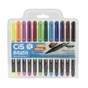 Caneta CIS Brush Pen Aquarelável Estojo c/ 12 Cores