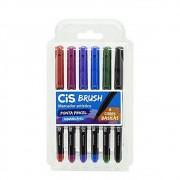 Caneta CIS Brush Pen Aquarelável Estojo c/ 6 Cores Básicas