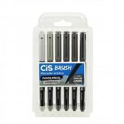 Caneta CIS Brush Pen Aquarelável Estojo c/ 6 Tons de Cinza