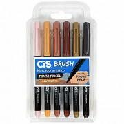 Caneta CIS Brush Pen Aquarelável Estojo c/ 6 Tons de Pele