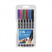 Caneta CIS Dual Brush Aquarelável  Estojo c/ 6 Cores