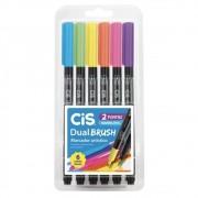 Caneta CIS Dual Brush Aquarelável Estojo c/ 6 Cores Neon