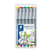 Caneta Colorida STAEDTLER Pigment Liner - Estojo c/ 6 cores