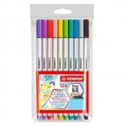 Caneta Stabilo Pen 68 Brush Estojo c/ 10 Cores