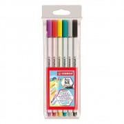 Caneta Stabilo Pen 68 Brush Estojo c/ 6 Cores