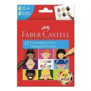 Canetinha Caras&Cores FABER-CASTELL c/ 12 Cores 6 Cores + 6 Tons de Pele