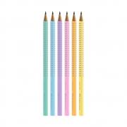 Kit c/ 6 Lápis Preto Pasteis FABER-CASTELL Eco Grip Nº 2 = B