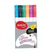 Marcador Artístico MOLIN OutLiner Marker Estojo c/ 6 cores.