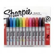 Marcador Permanente SHARPIE Brush Pen Estojo c/ 12 Cores