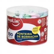 Pote Ponteira de Borracha MOLIN Pastel c/ 100 Unds