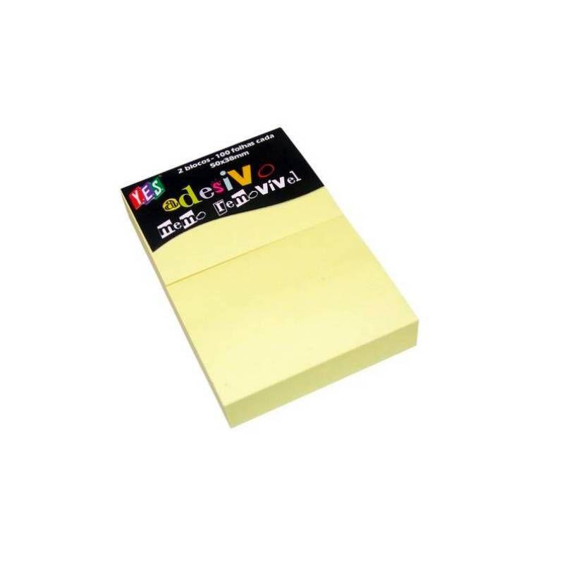 Adesivo Memo Removível YES -  50 x 38mm 2 Blocos Amarelo - 100 Fls cada