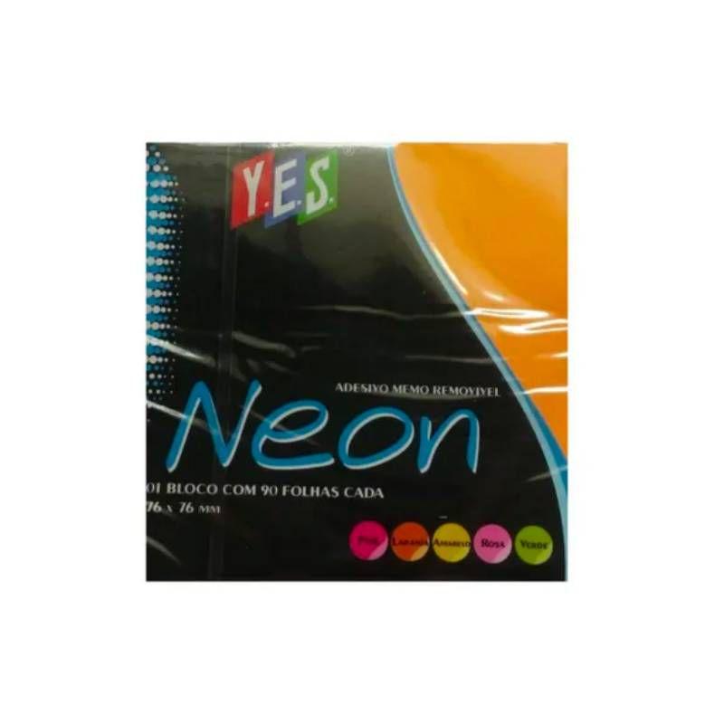 Adesivo Memo Removível YES - 76 x 76mm - Cores Neon c/ 90 Fls cada
