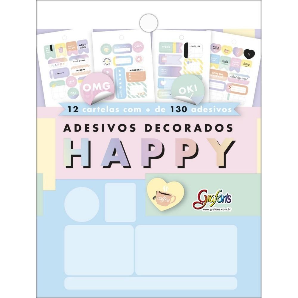 Adesivo TILIBRA Happy p/ Planner c/12 Folhas