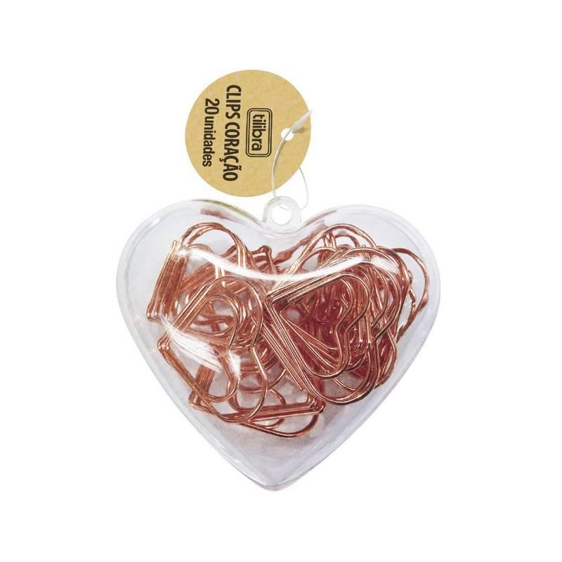 Binder Clips TILIBRA Coração Ouro Rose c/ 20 unds