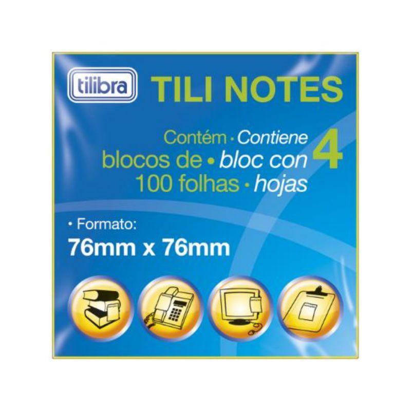 Bloco Adesivo TILIBRA Tili 76 x 76 mm 4 Cores