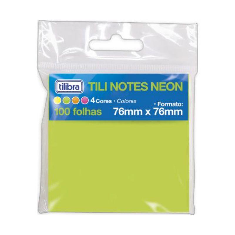 Bloco Adesivo TILIBRA Tili 76 x 76 mm 4 Cores Neon