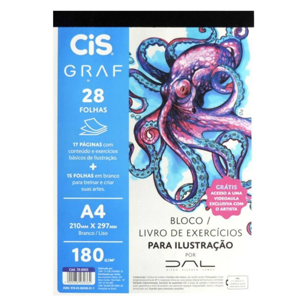 Bloco de Exercícios de  Ilustração CIS A4 c/ 32 Folhas 180g
