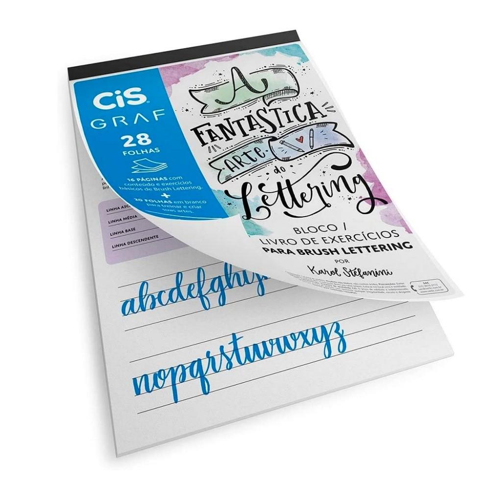 Bloco de Exercícios de  Lettering  A4 c/ 28 Folhas 180g