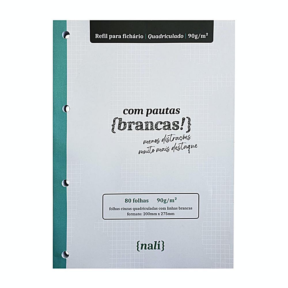 Bloco NALÍ Linhas Brancas p/ Fichário A4 90g/m2 c/ 80 Folhas